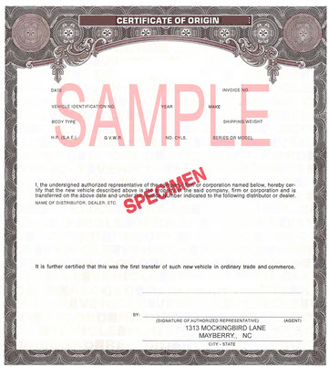 Manufacturers Certificate of Origin