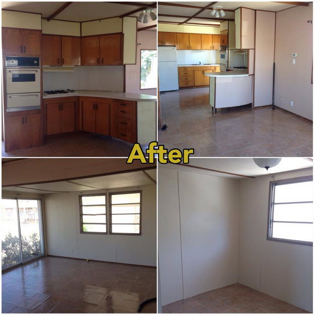 Mobile Home Makeover Before And After Rehab Pictures Mobile Home - Single wide trailer bathroom remodel