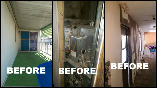 before pictures mobile home repair